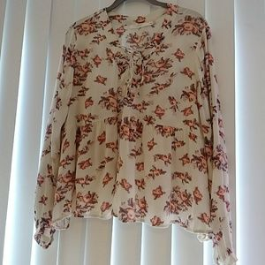 Lush Flower long sleeve blouse with tie front